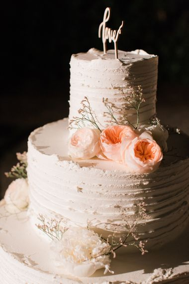 Two Tier Frosting Wedding Cake with Peach David Austin Roses Wedding Decor
