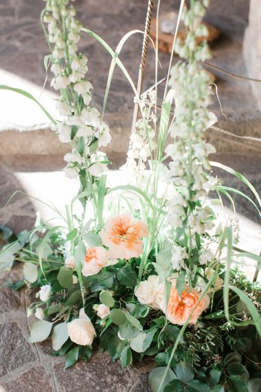 Tall Floral Arrangements with White Stocks, Peach Roses and Foliage
