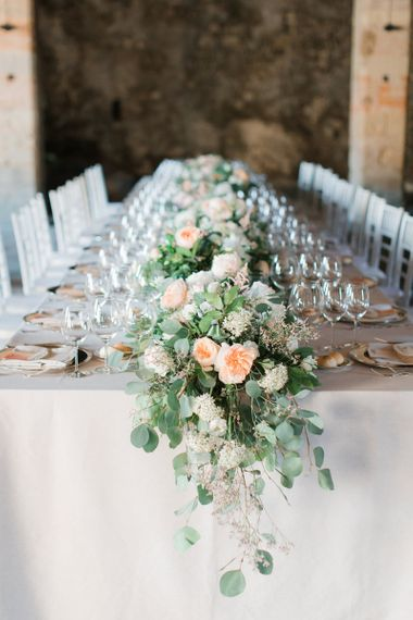 Peach, White and Foliage Table Runner