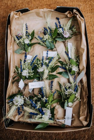 Rustic Buttonholes with Dried Grasses