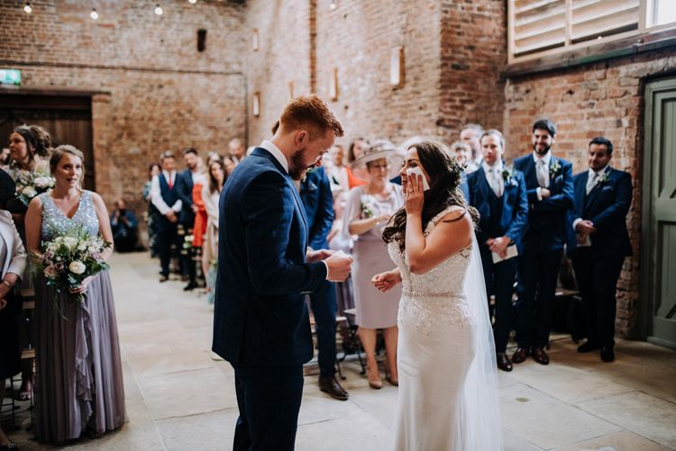 Emotional Wedding Ceremony  with Bride in Lace Roland Joyce Bridal Wedding Dress and Groom in Navy Suit