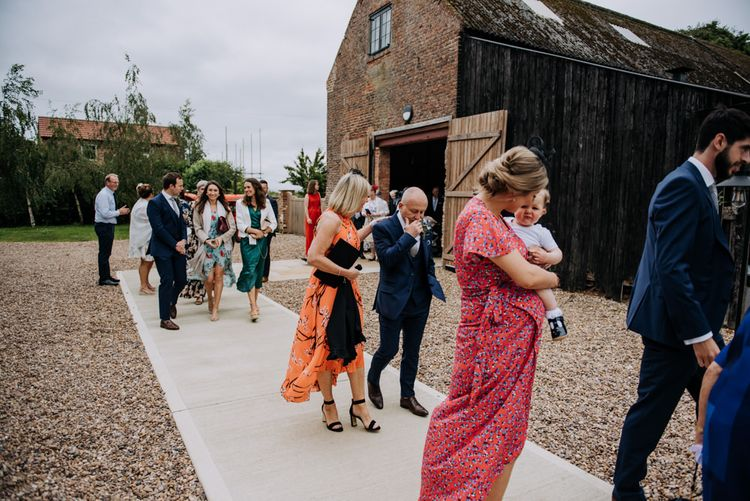 Wedding Guests Leaving Barn Wedding Ceremony