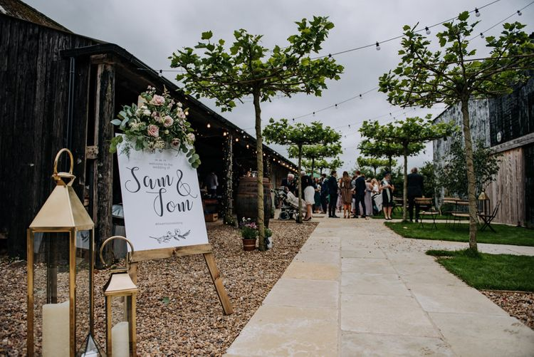 Wedding Welcome Sign on Wooden Easel at East Yorkshire Barns Wedding Venue