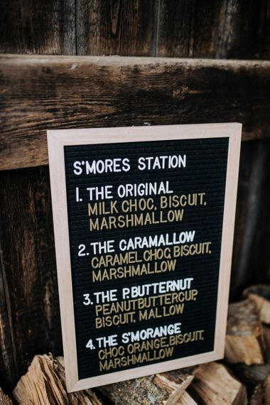 Peg Board Smore's Station Wedding Sign