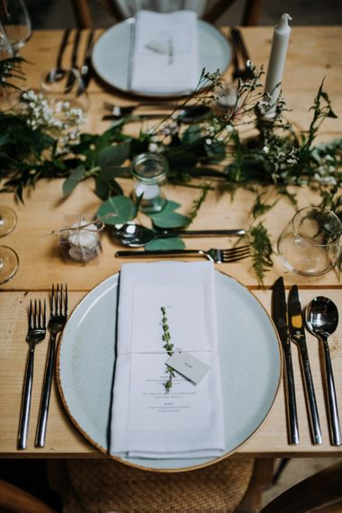 Rustic Place Setting with Charger Plater, Menu Card, and Foliage Stem