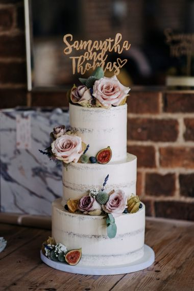 Semi Naked Wedding Cake with Flowers and Etched Cake Topper