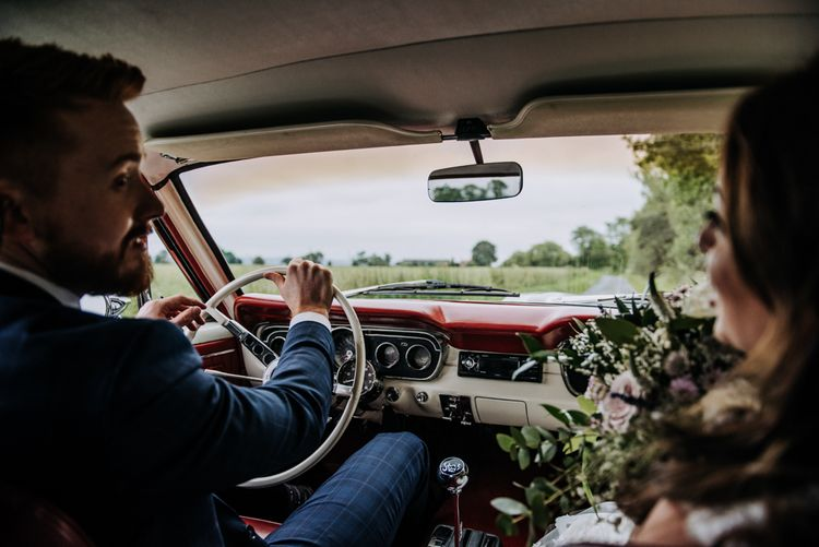 Groom Driving Ford Mustang Wedding Car