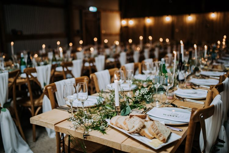 Rustic Barn Wedding Reception Decor with Taper Candles