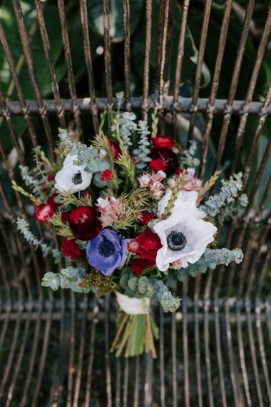 Brightly Coloured Wedding Bouquet with Anemones