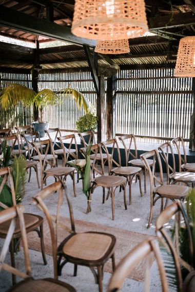 Wooden Ceremony Chairs with Botanical  Plant Decor