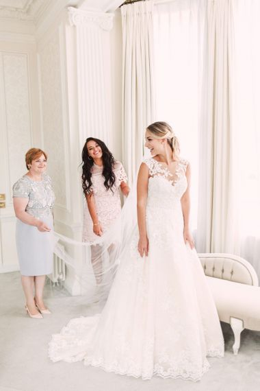 Bride in Lace Princess Wedding Dress with the Mother of The Bride and Maid of Honour
