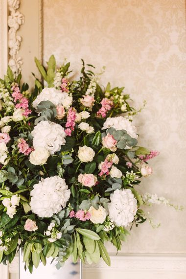 Romantic Pink and white Floral Arrangement with Hydrangeas and Roses