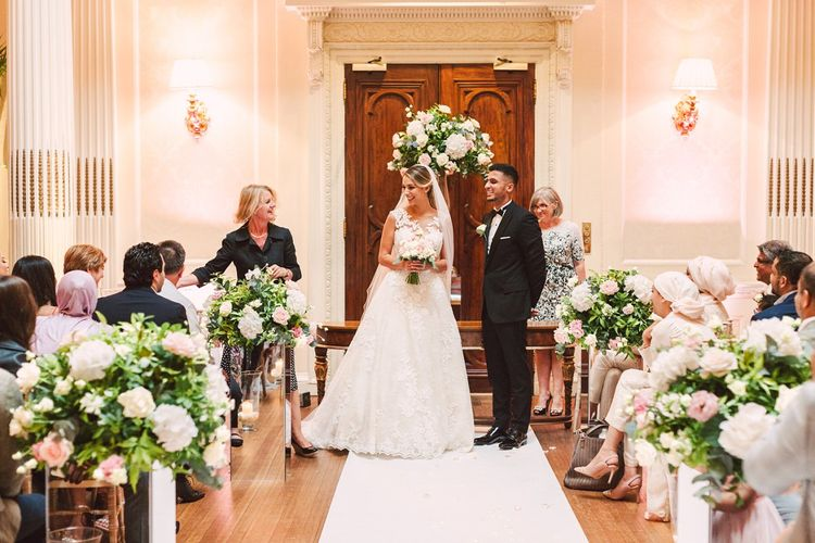 Bride and Groom at The Altar of Their Civil Ceremony at Hedsor House, Buckinghamshire