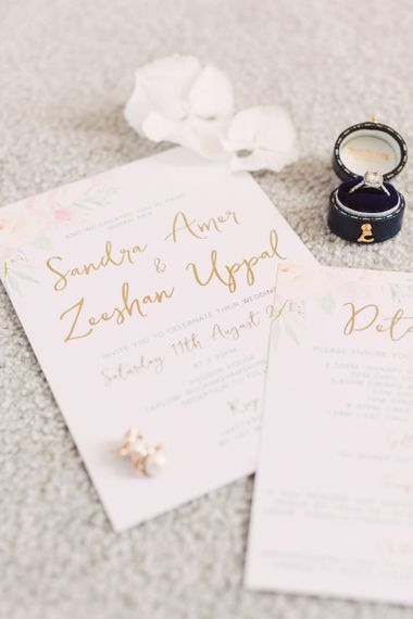 Gold Foil Calligraphy Wedding Stationery