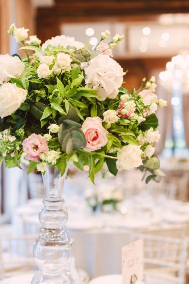 Tall Wedding Reception Centrepiece with Pink and White Flowers and Foliage