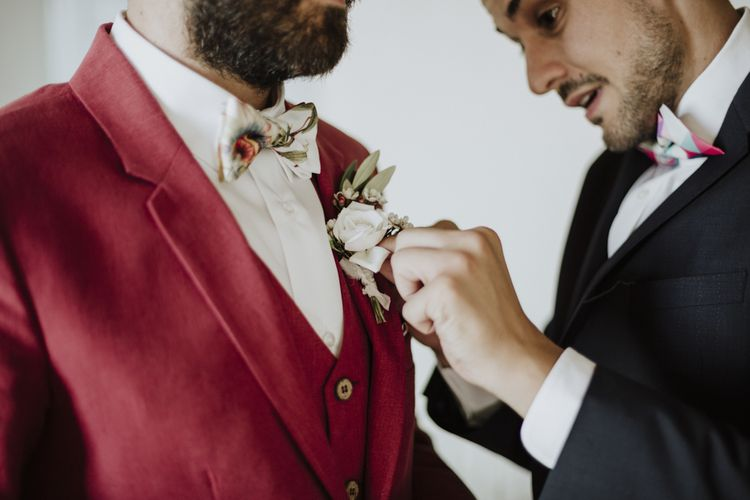 Red wedding suits