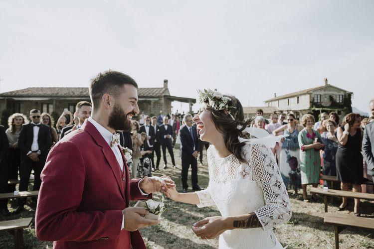 Bride in Laure de Sagazan wedding dress and flower crown