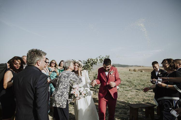 Bride in Laure de Sagazan wedding dress during ceremony