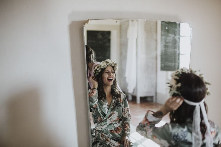 Bridal preparations with flower crown