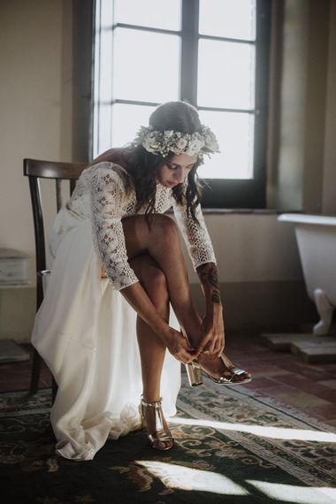 Gold wedding shoes with Laure de Sagazan bride dress