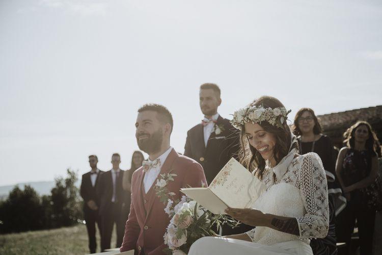 Laure de Sagazan bride dress at outdoor ceremony