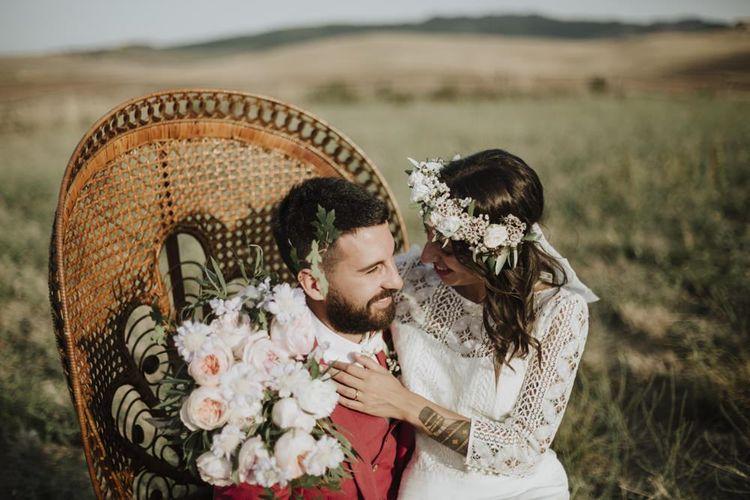 Laure de Sagazan bride dress with peacock chair at destination  weddings