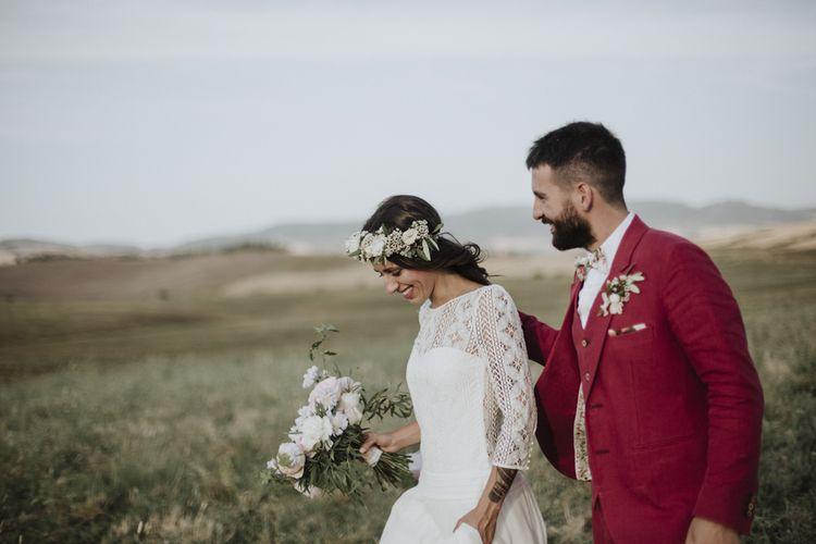 Red wedding suit with  Laure de Sagazan bride dress