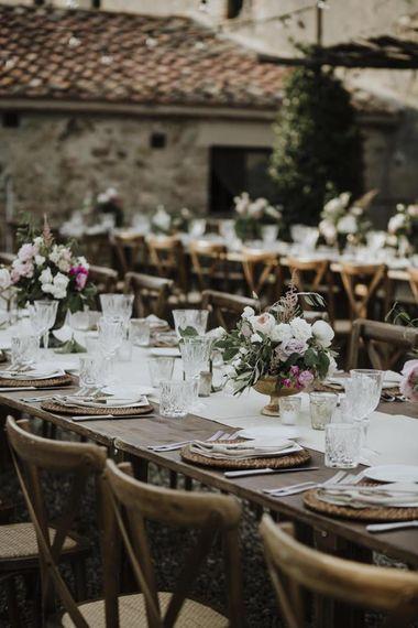 Wedding table flowers for Italian outdoor wedding