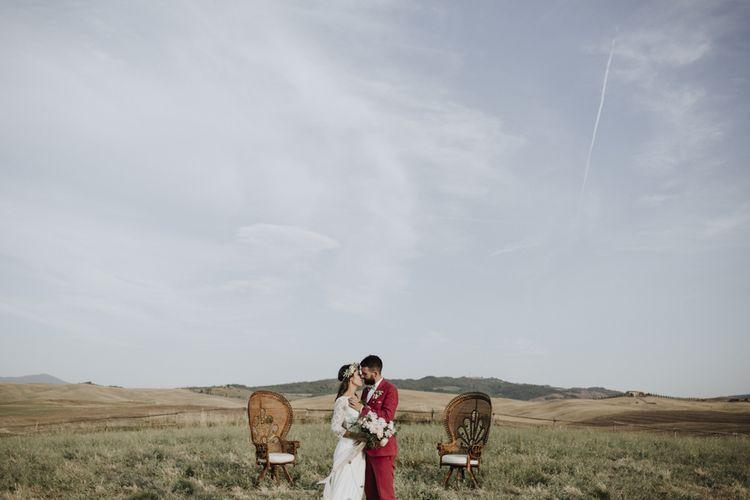 Italian wedding with Laure de Sagazan bride dress and peacock chairs