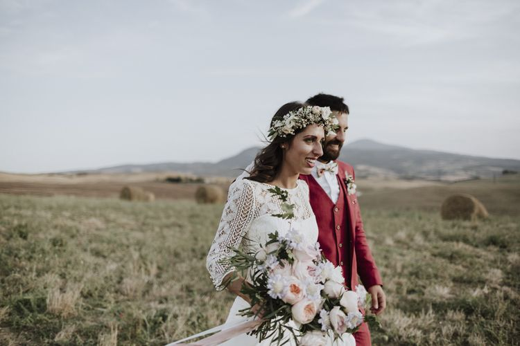Blush wedding bouquet for destination wedding