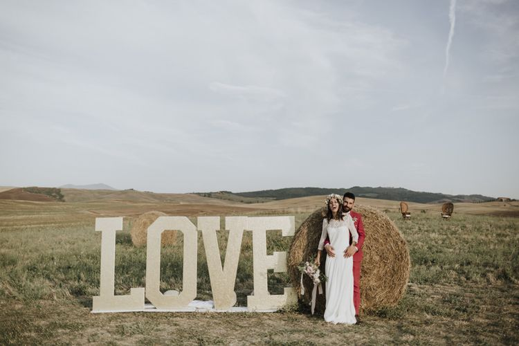 Large letters at Italian wedding