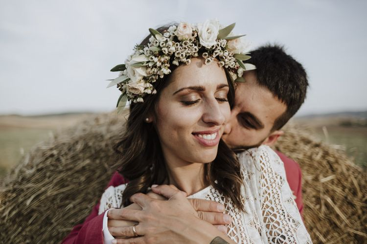 Flower crown for bride at destination wedding