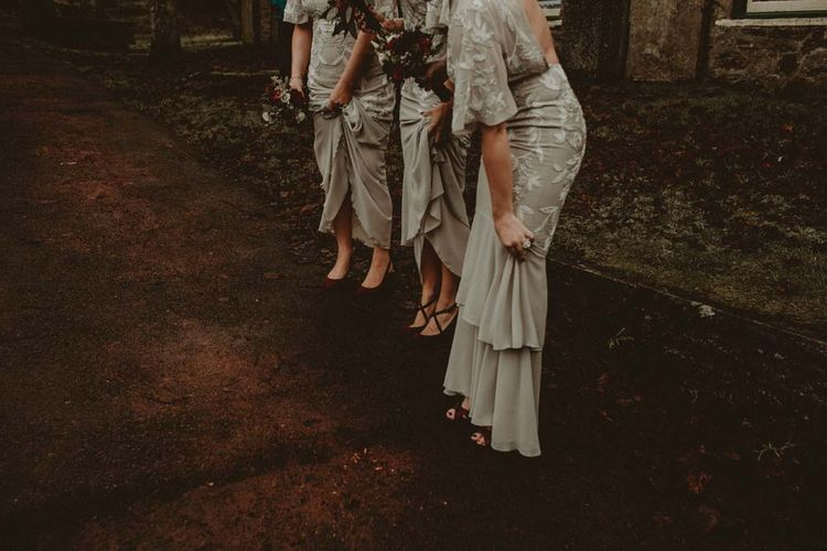 Winter Wedding Yorkshire Dales With Bridesmaids In Bespoke Silvery Dresses By Hope And Ivy With Images From Carla Blain Photography