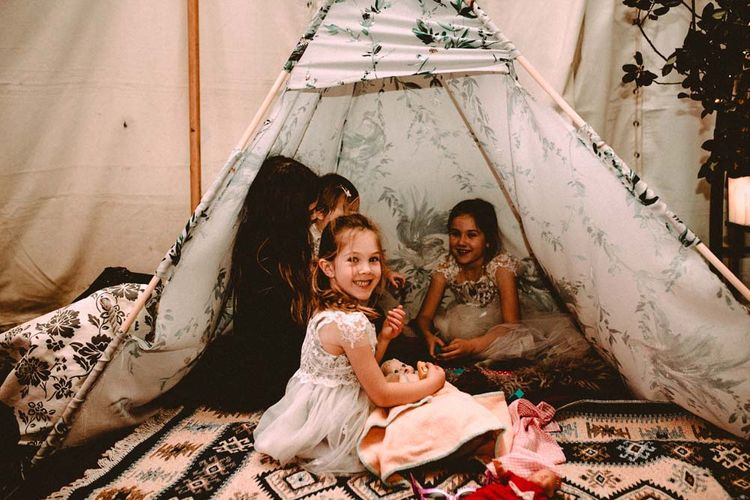 Tipi For Kids At Wedding // Winter Wedding Yorkshire Dales With Bridesmaids In Bespoke Silvery Dresses By Hope And Ivy With Images From Carla Blain Photography