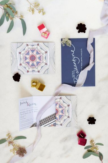 Diamond Engagement Ring in Ring Box with Celestial Wedding Stationery Suite