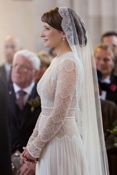 Church Wedding Ceremony with Bride in Delicate Lace Lihi Hod Sophia Wedding Dress