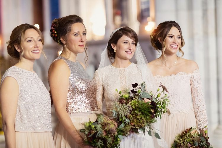 Bridal Party Portrait with Bridesmaids in Blush Monsoon Dresses and Separates and Bride in Lace Lihi Hod Sophia Wedding Dress