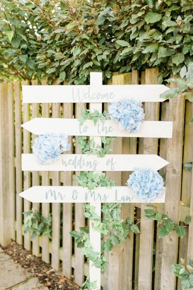 Picket Fence Wedding Welcome Sign Decorated with Hydrangeas