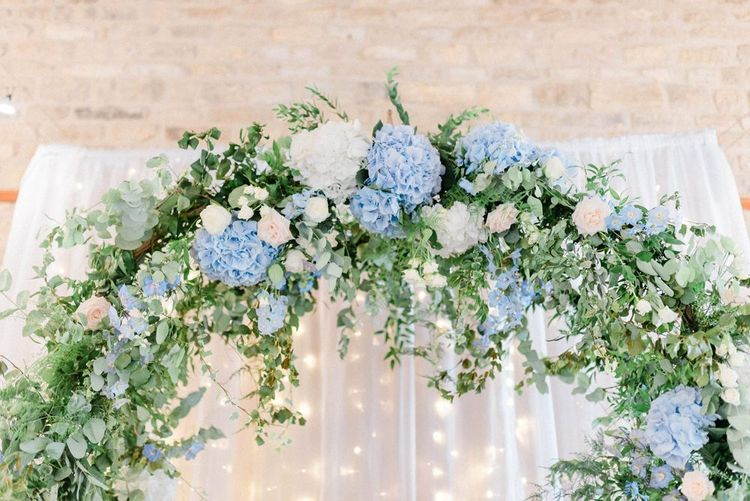 Blue and White Hydrangea Floral Arch with Foliage
