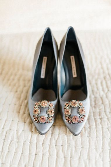 Manolo Blank Wedding Shoes with Diamante Buckle