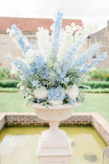 Blue and White Wedding Flower Arrangement with Hydrangeas and Stocks