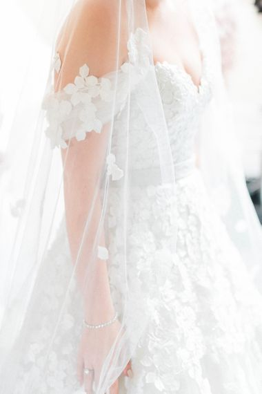 Appliqué Ian Stuart Wedding Dress and Veil
