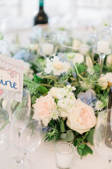 Pastel Pink, Blue and White Wedding Flowers