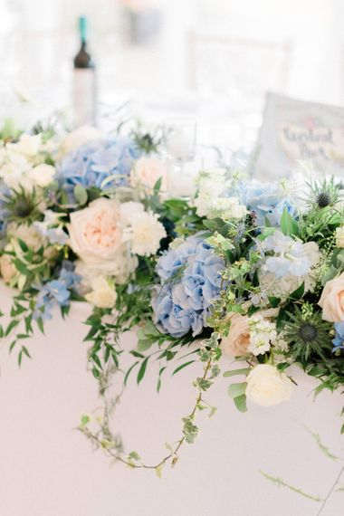 Blue Hydrangea, Pale Pink, White and Foliage Wedding Flowers