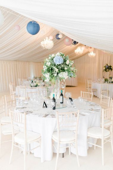Marquee Wedding Reception with Blue Hydrangea and Foliage Tall Centrepiece