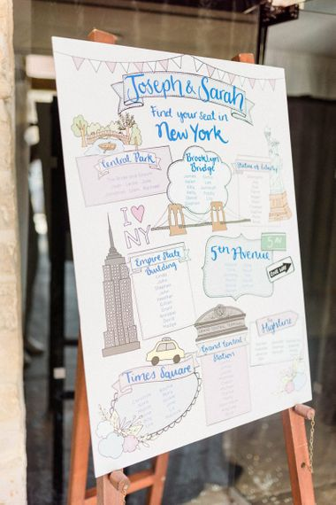 New York Table Plan Wedding Decoration