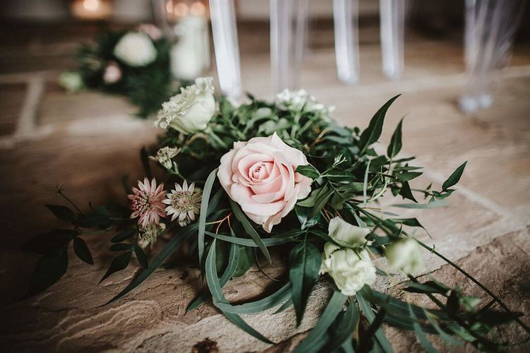 Pink, White & Green Aisle Flowers  | Blush, Rustic Luxe Wedding at Ever After, Dartmoor | Dan Ward Photography | CupcakeVideos