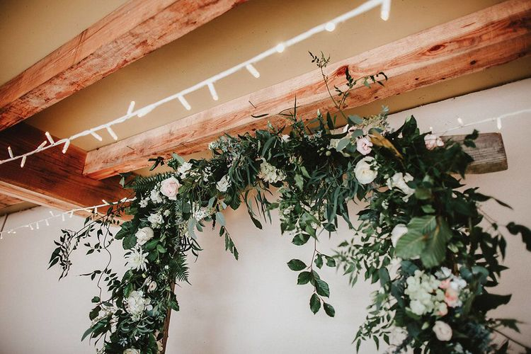 Floral Arch Altar Flowers | Blush, Rustic Luxe Wedding at Ever After, Dartmoor | Dan Ward Photography | CupcakeVideos