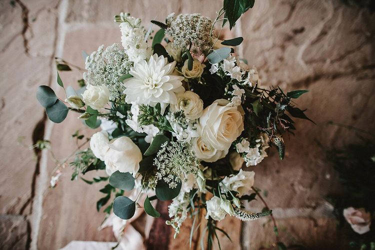 Green and White Loose Wedding Flowers | Blush, Rustic Luxe Wedding at Ever After, Dartmoor | Dan Ward Photography | CupcakeVideos