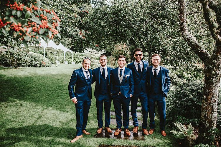 Groomsmen in Navy Remus Uomo Suits | Blush, Rustic Luxe Wedding at Ever After, Dartmoor | Dan Ward Photography | CupcakeVideos